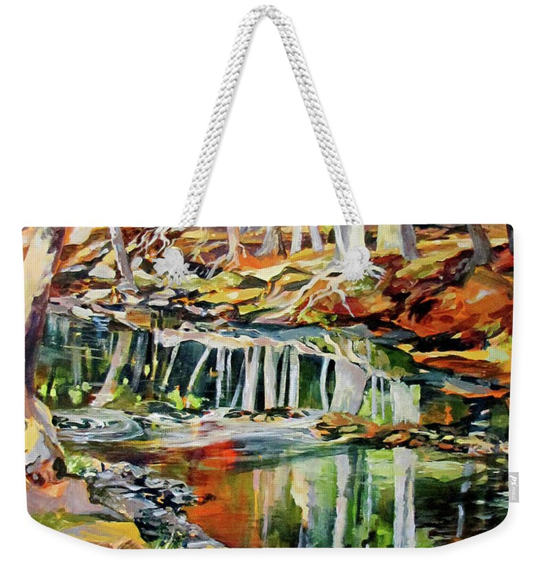 Landscape Weekender Tote Bag featuring the painting Ceeekbed, Fall Colors 4 by Rae Andrews