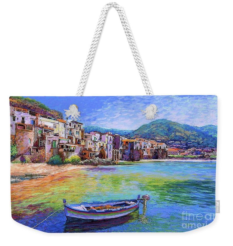 Italy Weekender Tote Bag featuring the painting Cefalu Sicily Italy by Jane Small