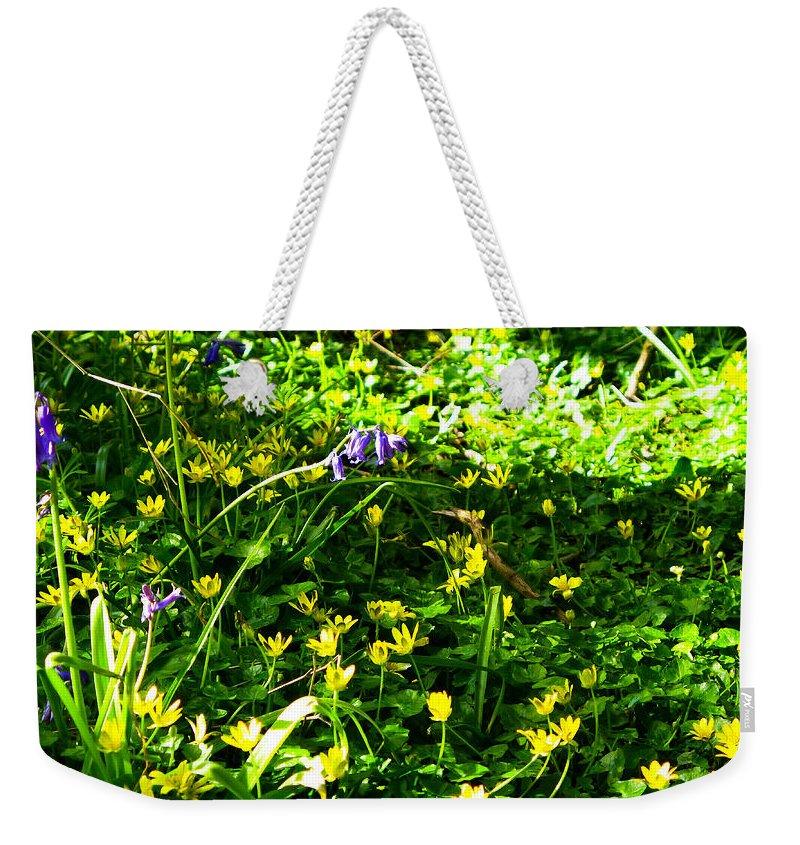 Celandines Weekender Tote Bag featuring the photograph Celandines by Maria Joy