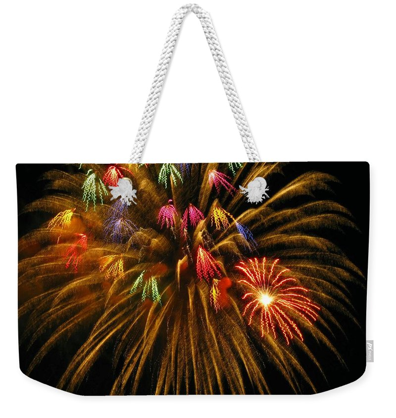Fireworks Weekender Tote Bag featuring the photograph Celebrate by Rhonda Barrett