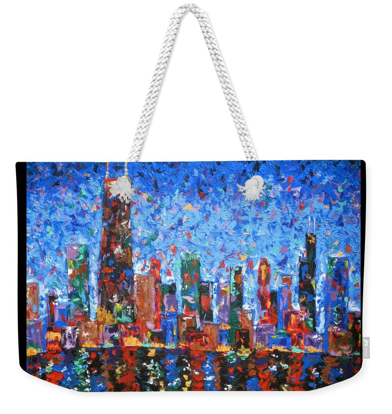 City Skyline Weekender Tote Bag featuring the painting Celebration City by J Loren Reedy