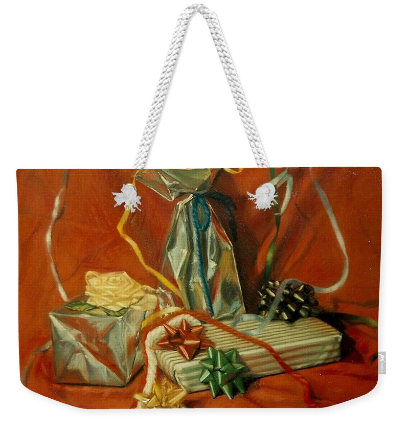 Red Weekender Tote Bag featuring the pastel Celebration by Constance Drescher