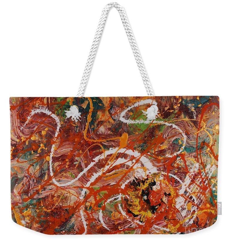 Orange Weekender Tote Bag featuring the painting Celebration II by Nadine Rippelmeyer