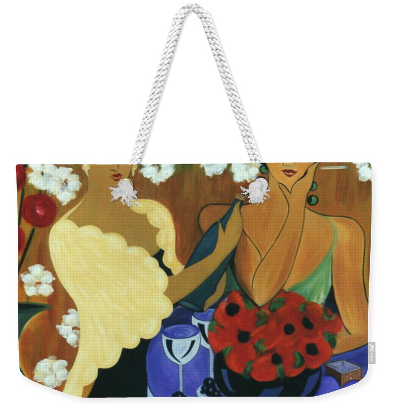 #female Weekender Tote Bag featuring the painting Celebration by Jacquelinemari