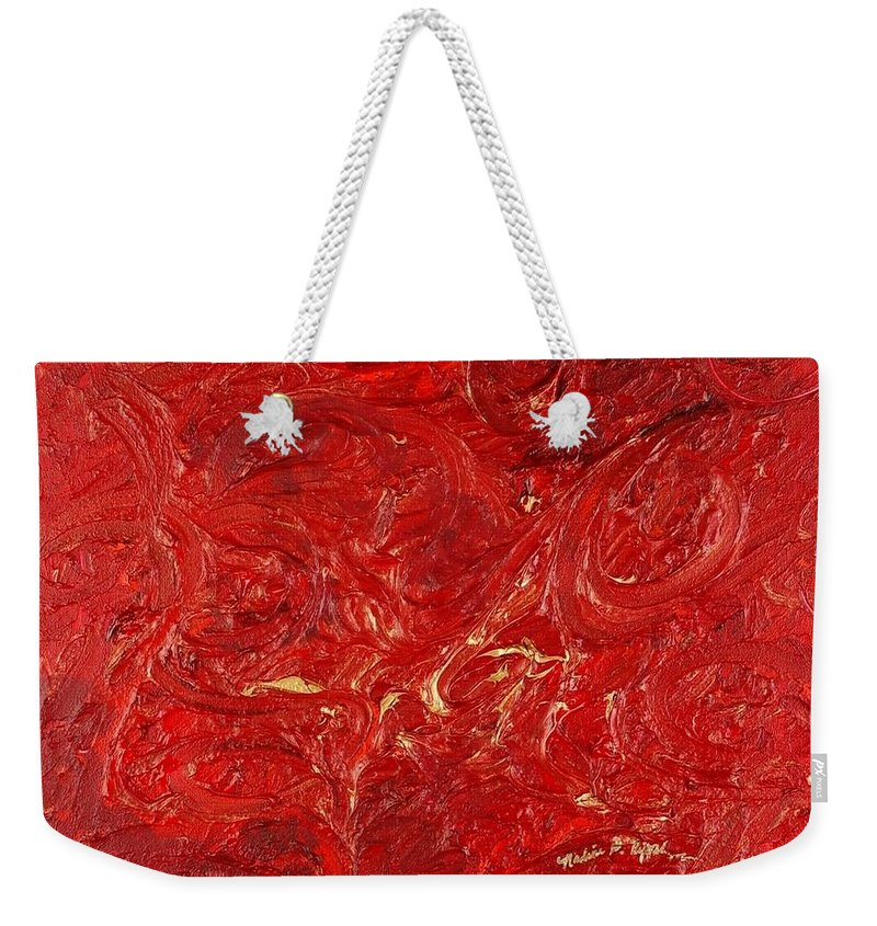 Red Weekender Tote Bag featuring the painting Celebration by Nadine Rippelmeyer