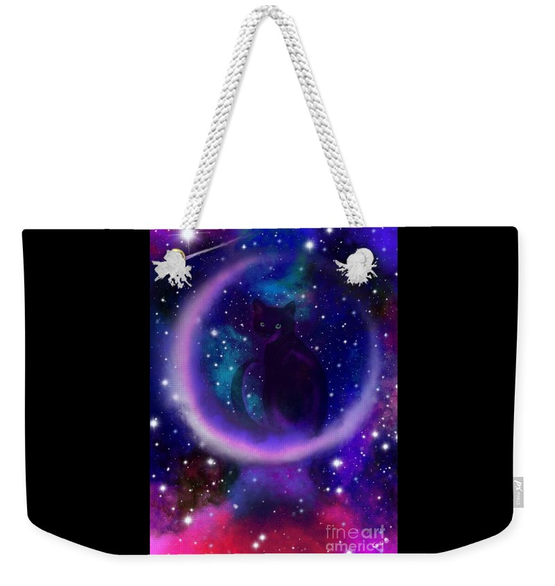 Cats Weekender Tote Bag featuring the painting Celestial Crescent Moon Cat by Nick Gustafson