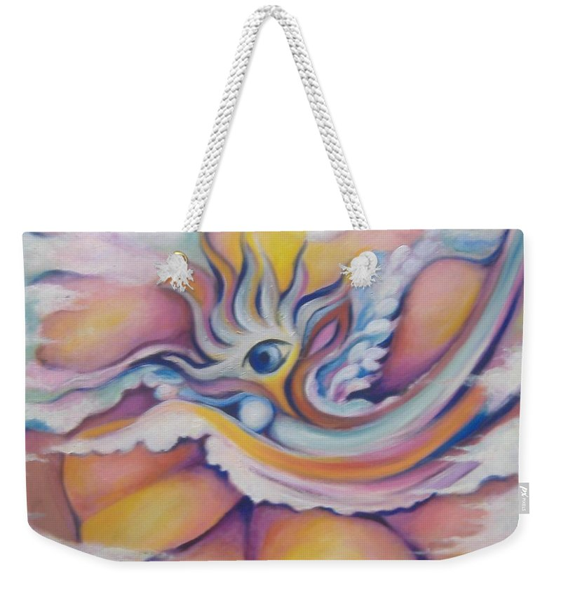 Surreal Artwork Weekender Tote Bag featuring the painting Celestial Eye by Jordana Sands