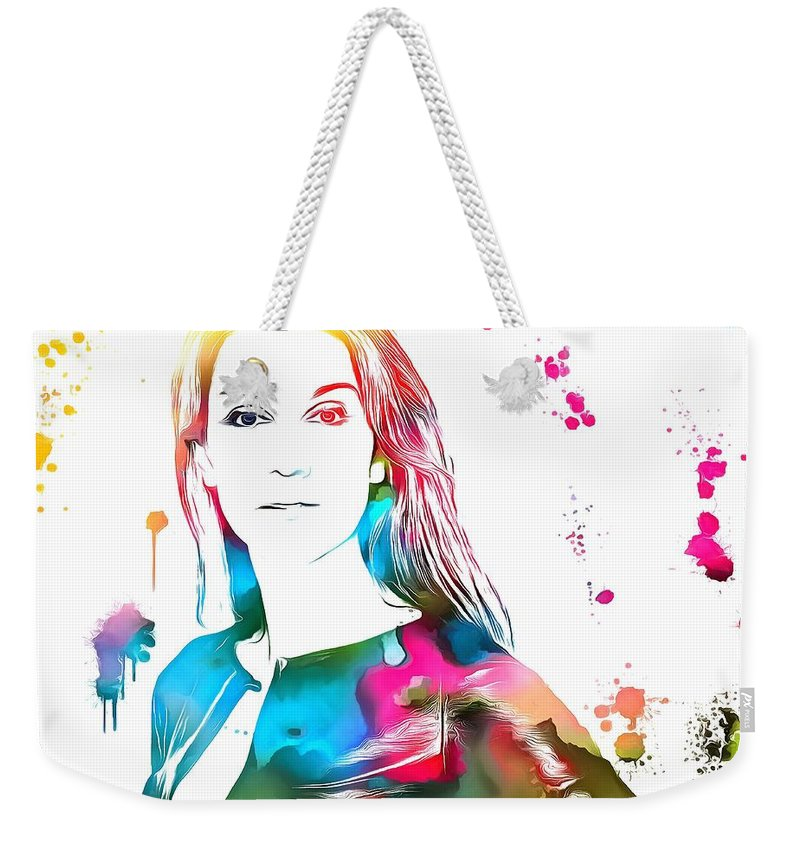 Celine Dion Paint Splatter Weekender Tote Bag featuring the painting Celine  Dion Paint Splatter by Dan 8e66ffc6d0