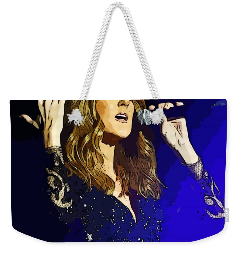 Celine Dion Weekender Tote Bag featuring the painting Celine Dion Poster  Art by John Malone c862767509