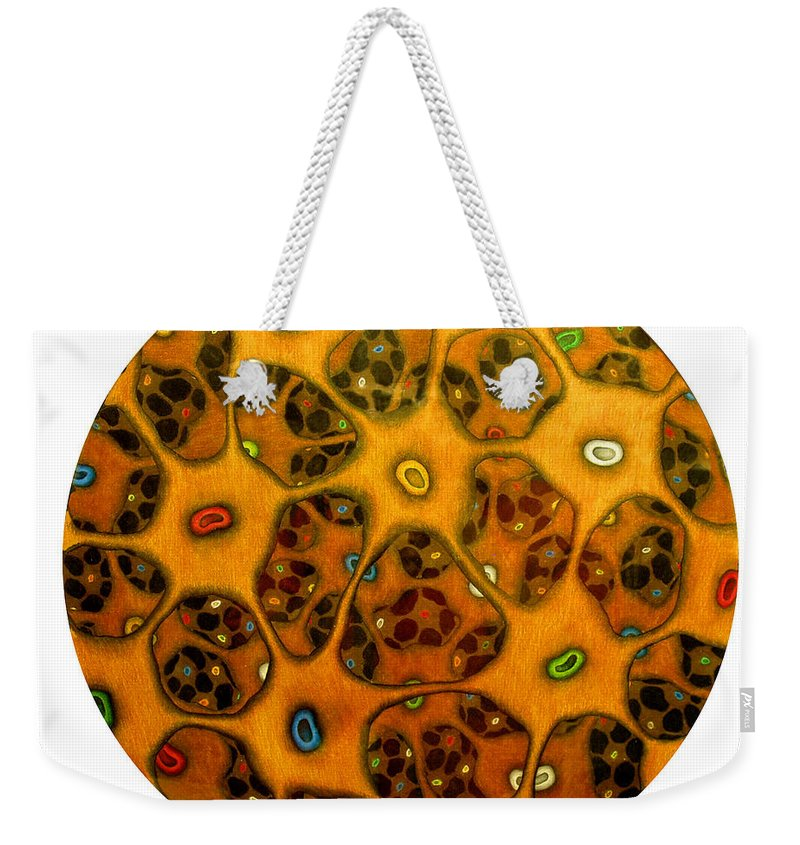 Cells Weekender Tote Bag featuring the drawing Cell Network by Nancy Mueller