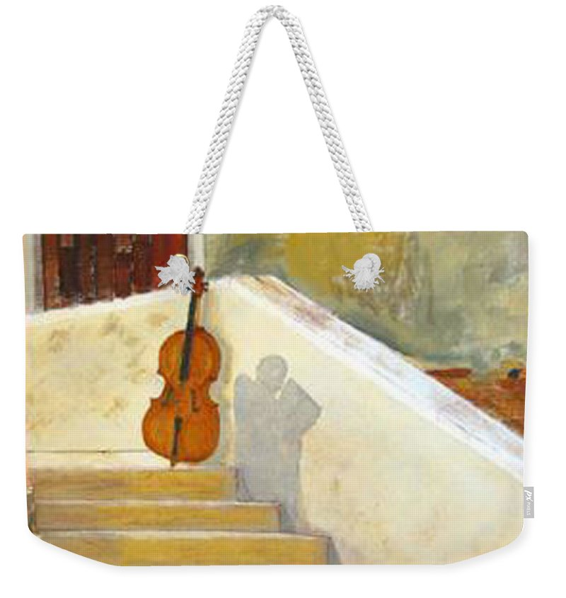 Cello Weekender Tote Bag featuring the painting Cello No 3 by Richard Le Page