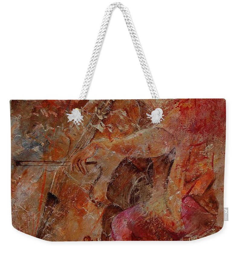 Music Weekender Tote Bag featuring the painting Cello Player by Pol Ledent