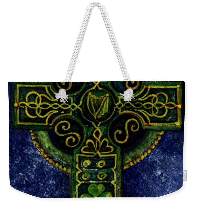 Elle Fagan Weekender Tote Bag featuring the painting Celtic Cross - Harp by Elle Smith Fagan