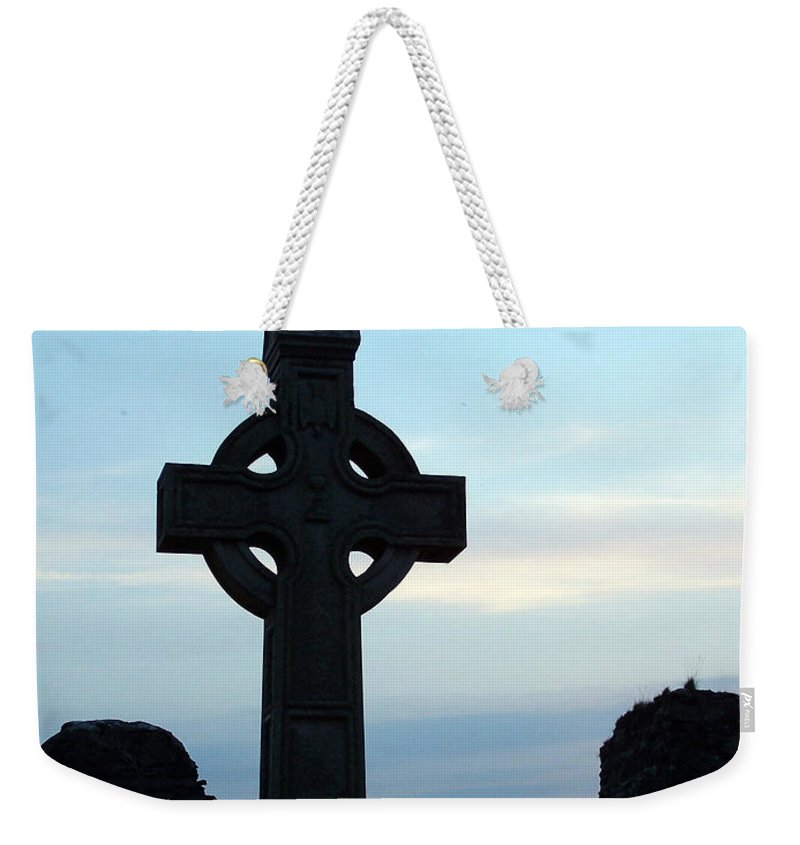 Irish Weekender Tote Bag featuring the photograph Celtic Cross At Sunset Donegal Ireland by Teresa Mucha