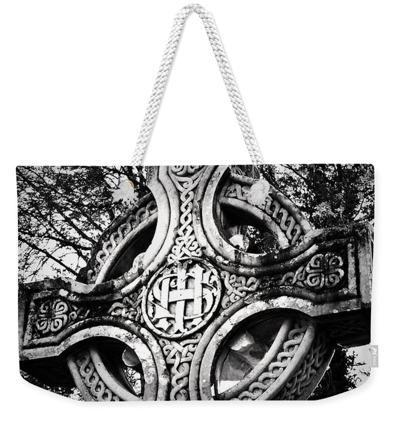 Irish Weekender Tote Bag featuring the photograph Celtic Cross Detail Killarney Ireland by Teresa Mucha