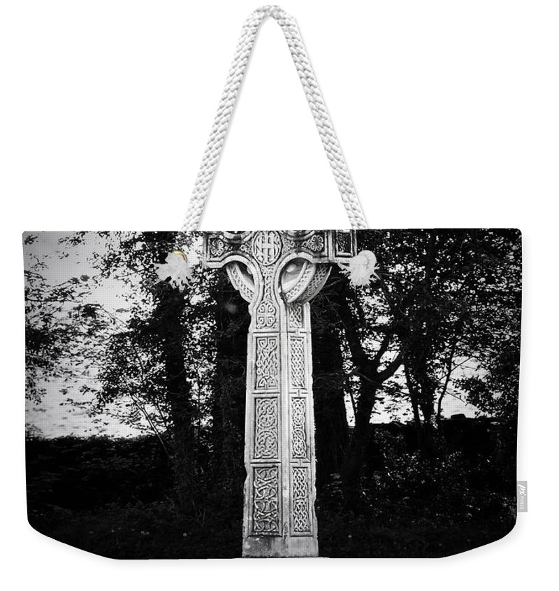 Irish Weekender Tote Bag featuring the photograph Celtic Cross in Killarney Ireland by Teresa Mucha