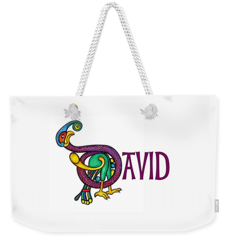Celtic Weekender Tote Bag featuring the painting Decorative Celtic Name David by Frances Gillotti