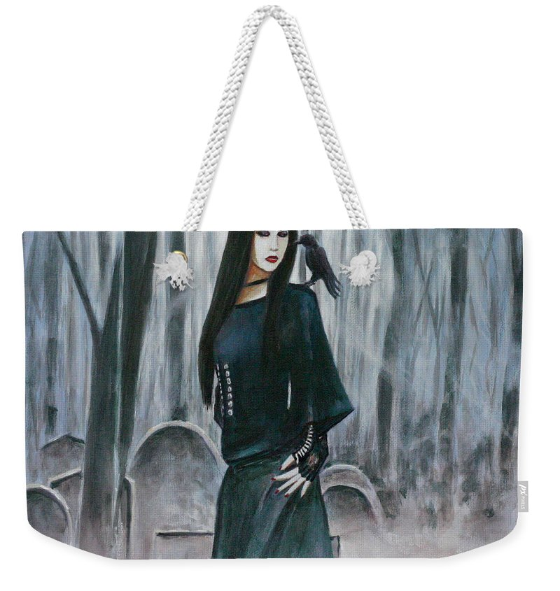Cemetery Chic Gothic Raven Crow Tombstones Light Trees Goth Woman Weekender Tote Bag featuring the painting Cemetery Chic by Andy Lloyd