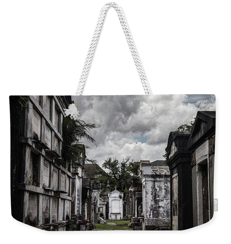 New Orleans Weekender Tote Bag featuring the photograph Cemetery Row by Laura Roberts
