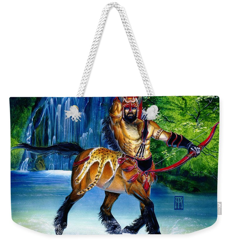 Centaur Weekender Tote Bag featuring the painting Centaur In Waterfall by Melissa A Benson