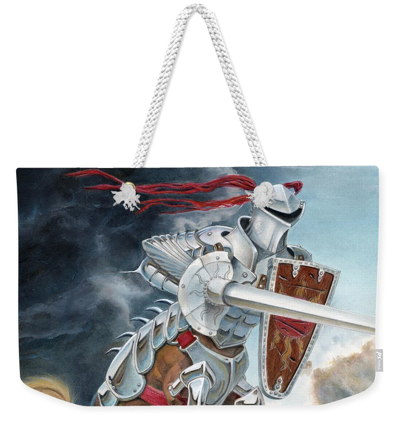 Centaur Weekender Tote Bag featuring the painting Centaur Joust by Melissa A Benson