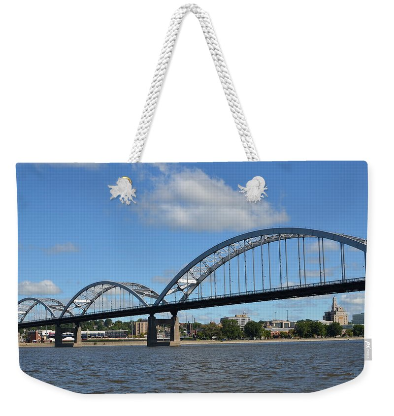 Rock Island Centennial Bridge Weekender Tote Bag featuring the photograph Centennial Spans by Tammy Mutka
