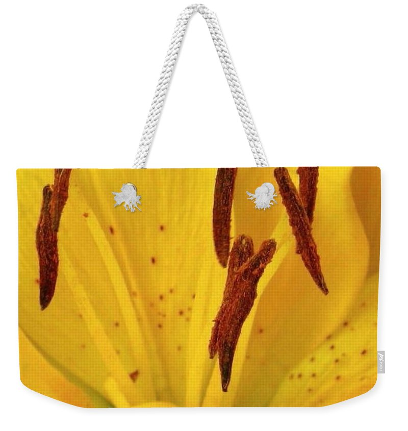 Lily Weekender Tote Bag featuring the photograph Center Of A Lily by Rhonda Barrett