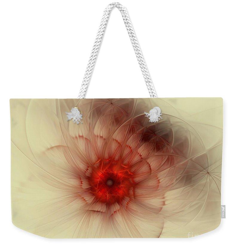 Digital Weekender Tote Bag featuring the digital art Center Of Burning Red by Deborah Benoit