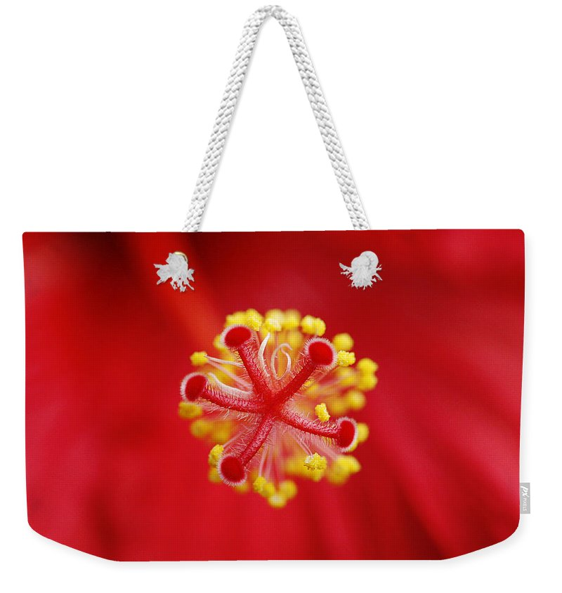 Flower Weekender Tote Bag featuring the photograph Center Of The Hibiscus Universe by Marilyn Hunt