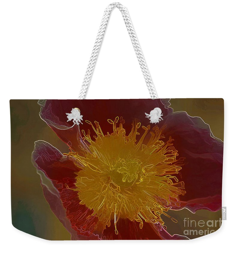 Flower Weekender Tote Bag featuring the photograph Center Of Yellow by Deborah Benoit