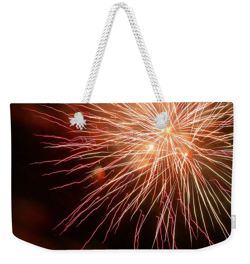 Fireworks Weekender Tote Bag featuring the photograph Center Stage by Lorraine Baum