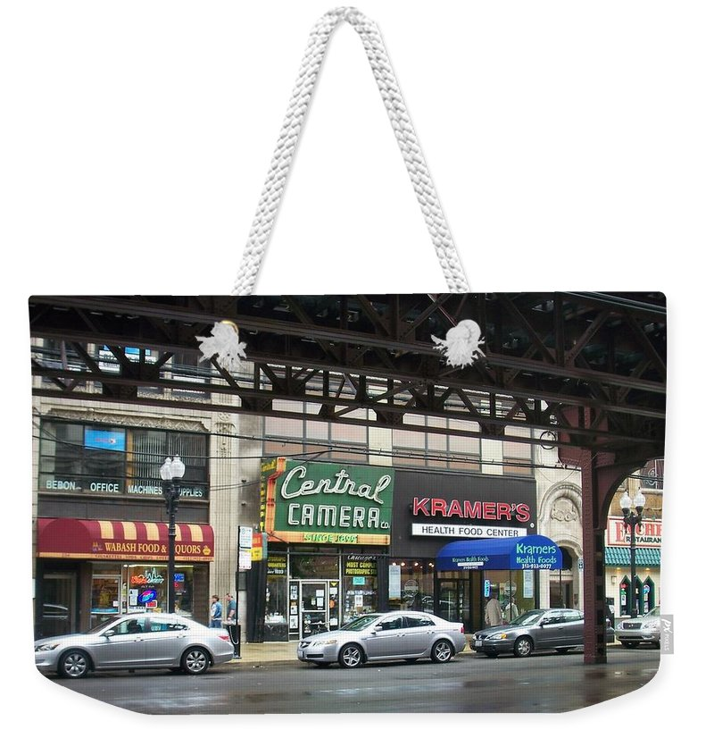 Chicago Weekender Tote Bag featuring the photograph Central Camera On Wabash Ave by Anita Burgermeister