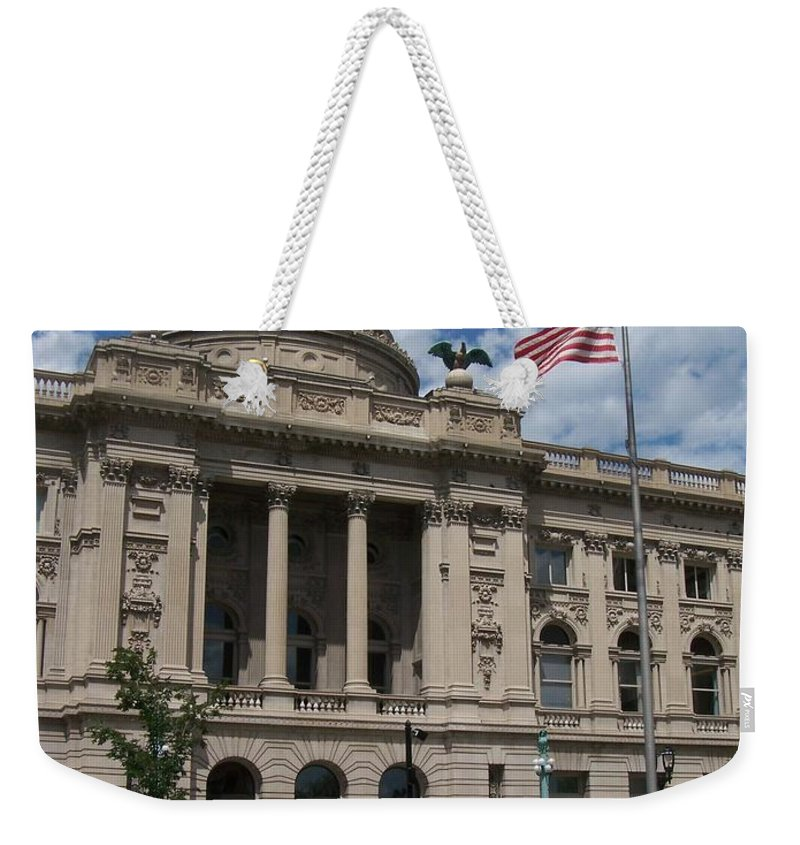 Central Library Weekender Tote Bag featuring the photograph Central Library Milwaukee by Anita Burgermeister