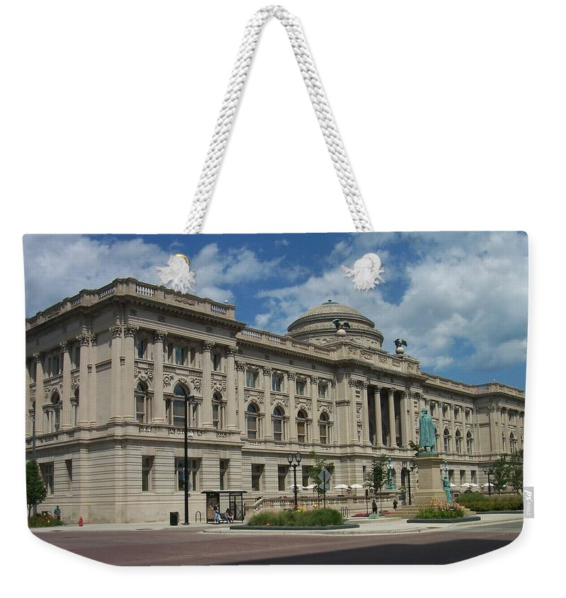 Central Library Weekender Tote Bag featuring the photograph Central Library Milwaukee Full View by Anita Burgermeister