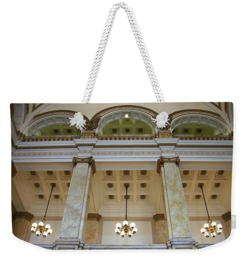 Central Library Weekender Tote Bag featuring the photograph Central Library Milwaukee Interior by Anita Burgermeister