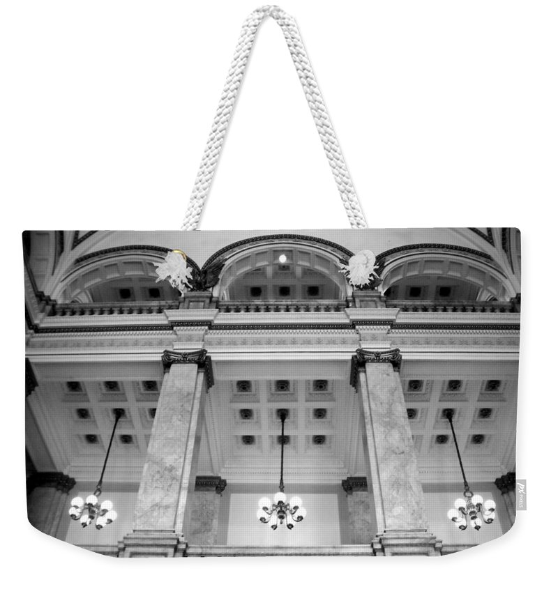 Central Library Weekender Tote Bag featuring the photograph Central Library Milwaukee Interior Bw by Anita Burgermeister