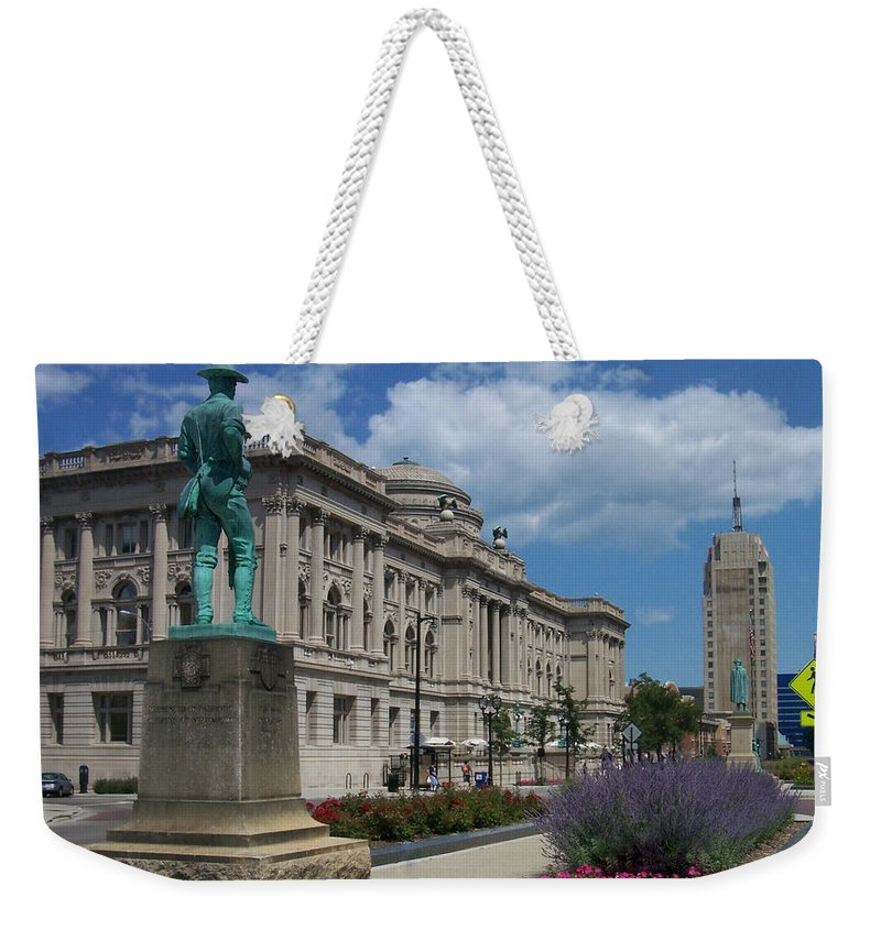 Central Library Weekender Tote Bag featuring the photograph Central Library Milwaukee Street View by Anita Burgermeister