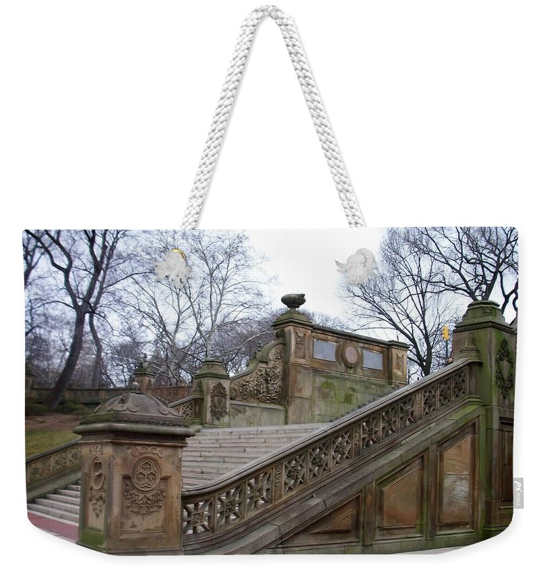 Central Park Weekender Tote Bag featuring the photograph Central Park Bethesda 1 by Anita Burgermeister