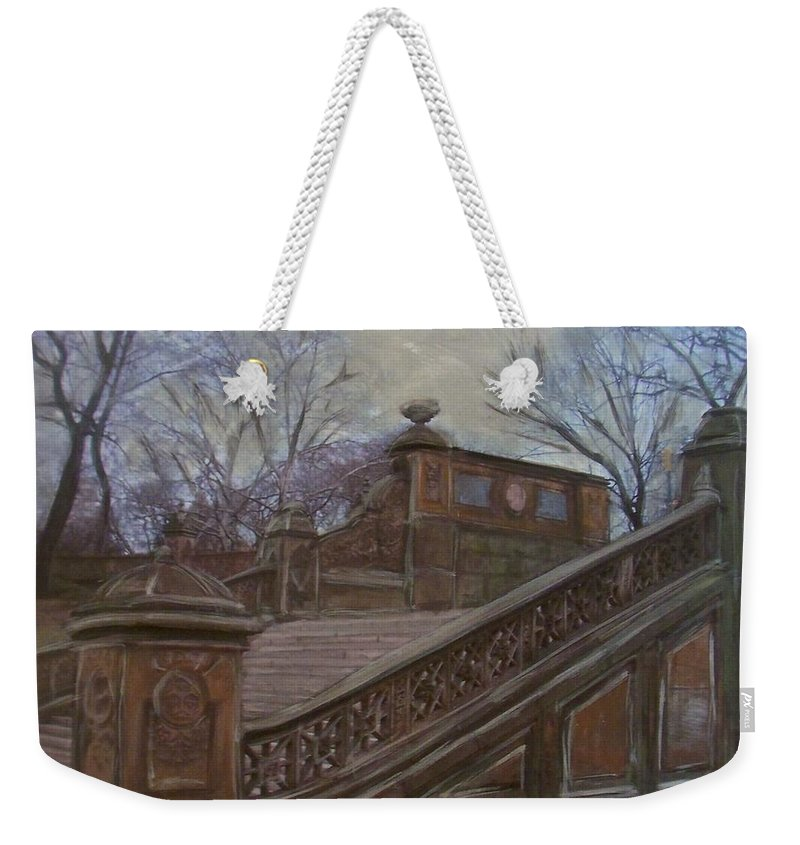 Central Park Weekender Tote Bag featuring the painting Central Park Bethesda Staircase by Anita Burgermeister
