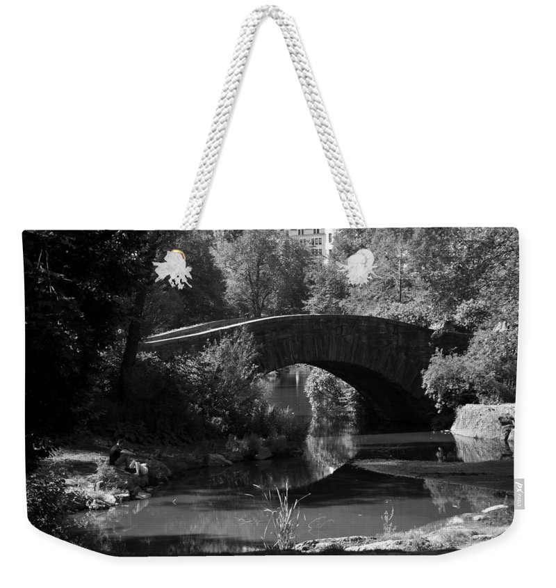Central Park Weekender Tote Bag featuring the photograph Central Park Bridge by Eric Fleming