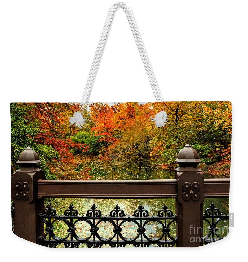 Central Park Bridges Weekender Tote Bag featuring the photograph Central Park Oak Bridge In Autumn by Regina Geoghan