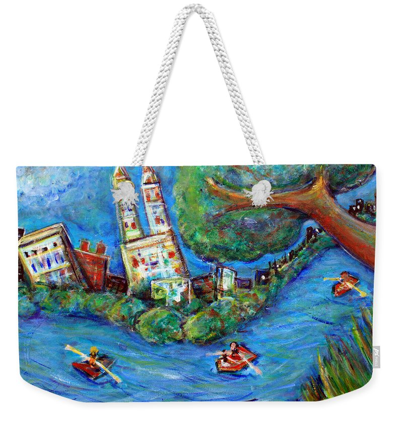 Central Park New York City New York Manhattan Upper West Side Upper East Side Columbus Circle Nyc Skyline Weekender Tote Bag featuring the painting Central Park West by Jason Gluskin