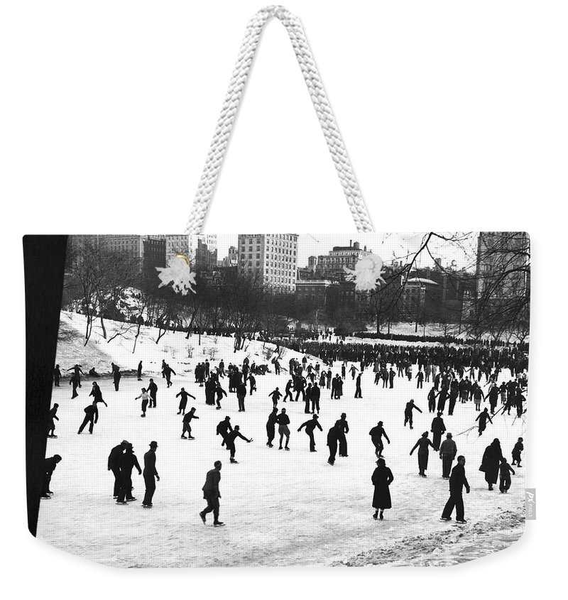 1930s Weekender Tote Bag featuring the photograph Central Park Winter Carnival by Underwood & Underwood