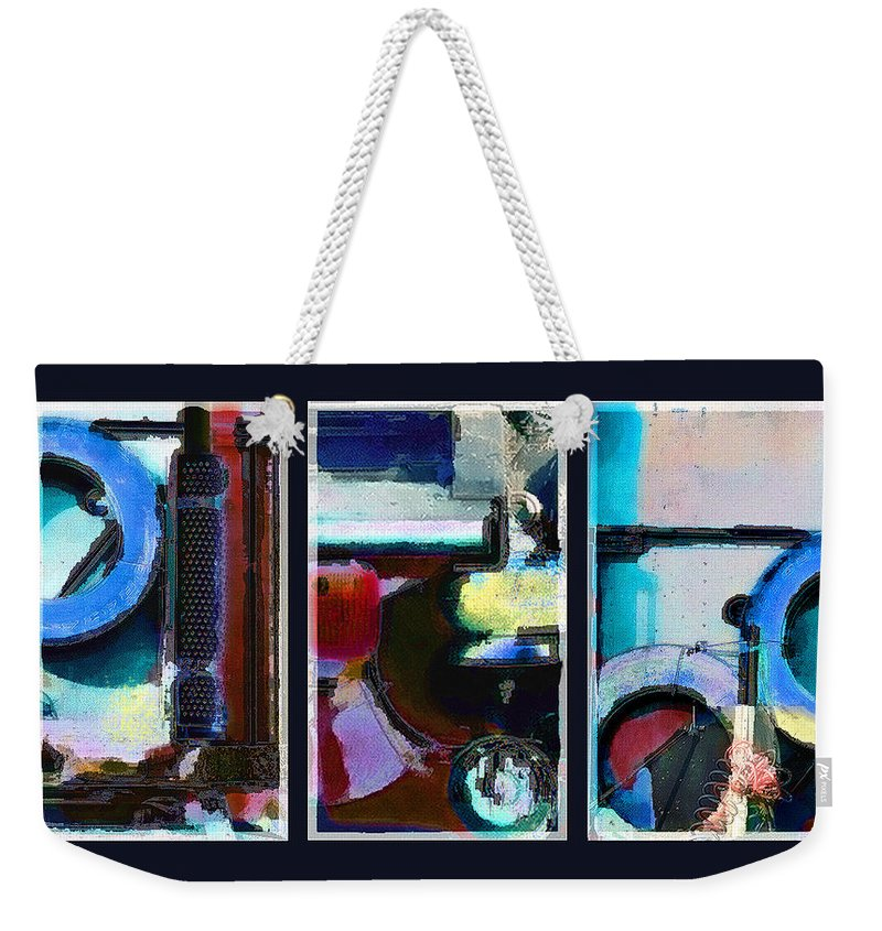 Abstract Weekender Tote Bag featuring the digital art Centrifuge by Steve Karol