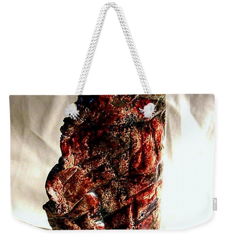 Ceramic Weekender Tote Bag featuring the ceramic art Ceramic Red Vase by Madalena Lobao-Tello