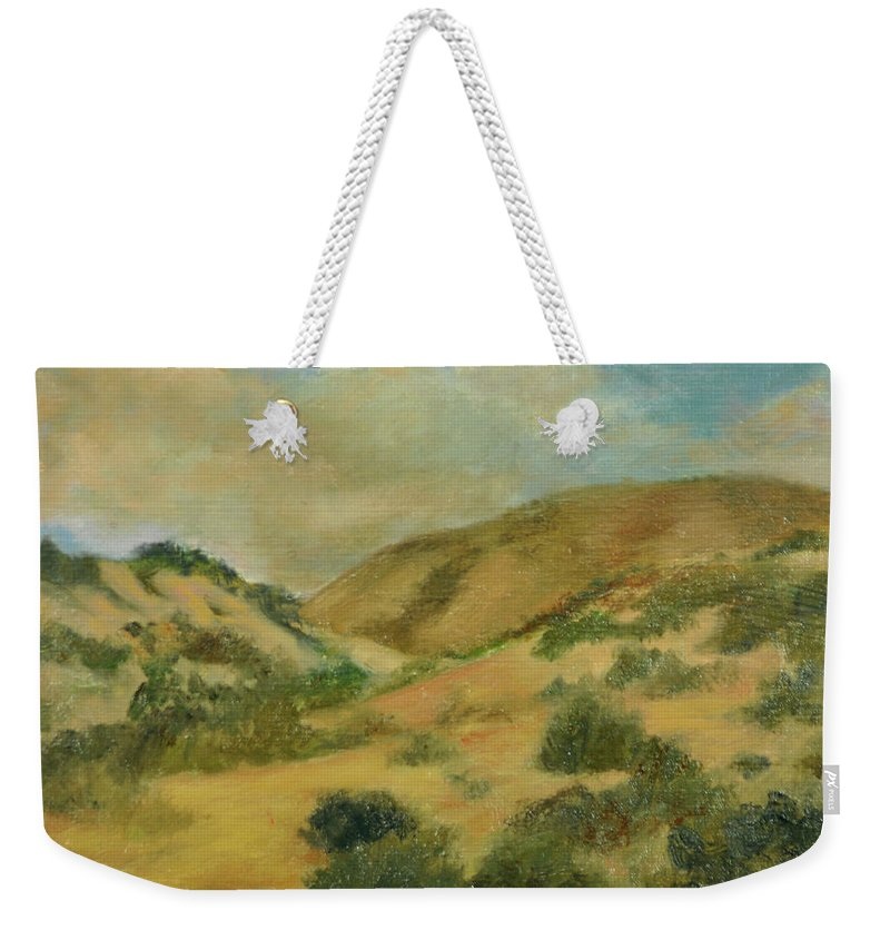 New Mexico Weekender Tote Bag featuring the painting Cerillos Hills New Mexico by Phyllis Tarlow