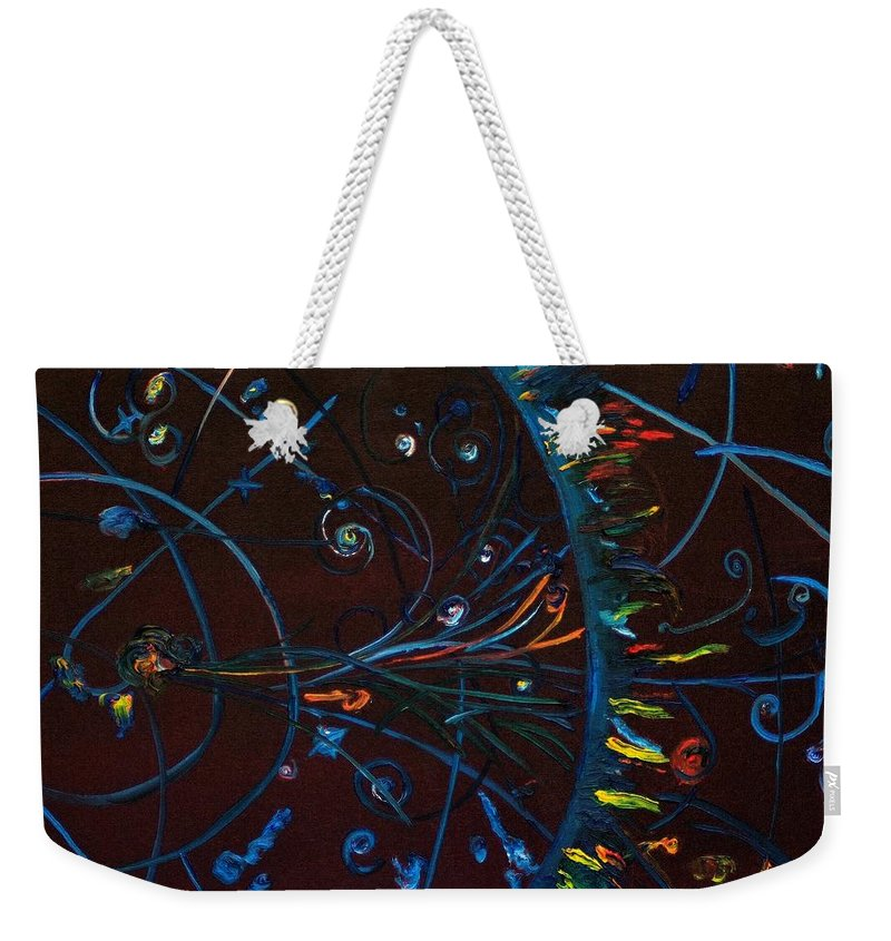 Cern Weekender Tote Bag featuring the painting CERN Atomic Collision Physics and Colliding Particles by Modern Impressionism