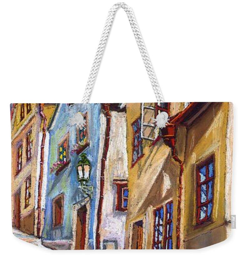 Pastel Chesky Krumlov Old Street Architectur Weekender Tote Bag featuring the painting Cesky Krumlov Old Street 2 by Yuriy Shevchuk