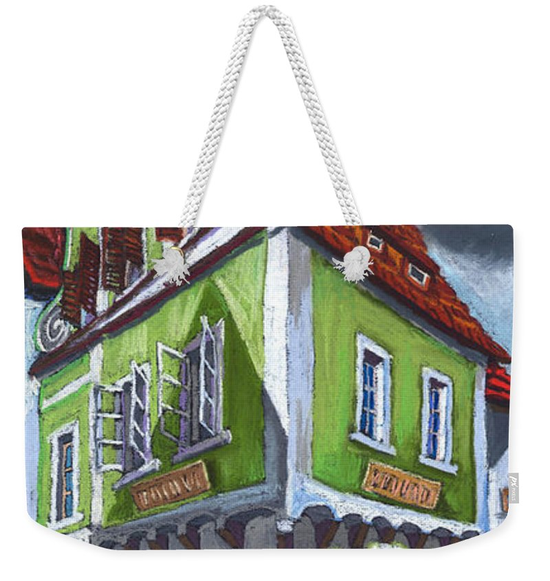 Pastel Chesky Krumlov Old Street Cityscape Realism Architectur Weekender Tote Bag featuring the painting Cesky Krumlov Old Street 3 by Yuriy Shevchuk