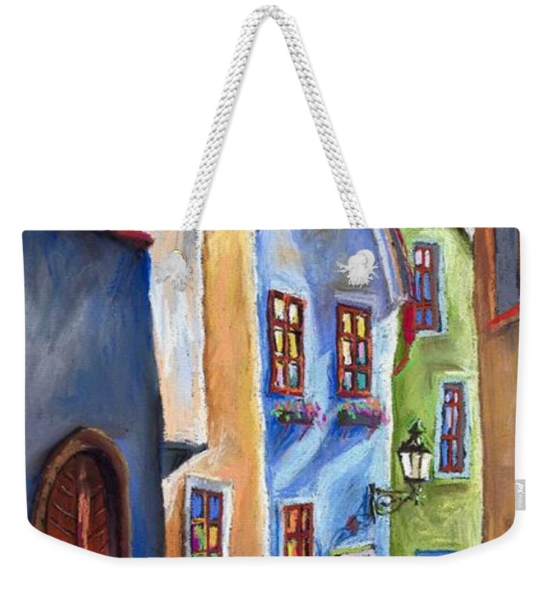 Cityscape Weekender Tote Bag featuring the painting Cesky Krumlov Old Street by Yuriy Shevchuk